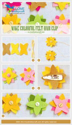make colorful felt hair clip