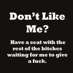 Don't like me? Have a seat with the rest of the bitches waiting for me to give a fuck.