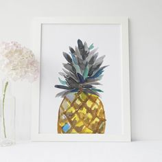 Bring the tropics into your home with this gorgeous hand painted peekaboo pineapple painting.