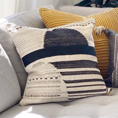 """The Proctor Pillow offers an enduring presentation of the modern form that will competently revitalize your decor space. The meticulously woven construction of these pieces boasts durability and will provide natural charm into your decor space. Made with cotton, and polyester in India. Spot clean only, line dry. 20"""" x 20"""" Color: Black, Cream Material: 90% Cotton, 10% Polyester Back: Solid Beige Cotton Hand Woven, Knife Edge Down Insert Included Living Room Redo, Living Room Pillows, Couch Pillows, Accent Pillows, Throw Pillows, Grey Couch Decor, Black Couches, Painted Rug, Pillow Fight"""