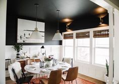 Another view of Erin's new Back in Black dining room. I love the reflection from the scones on to the black ceiling. This room is just so good! #oneroomchallenge @everydayinteriordesign