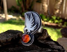 Eagle Ring. Sterling and Amber. Spirit Animal Ring. by Arrok, $189.00