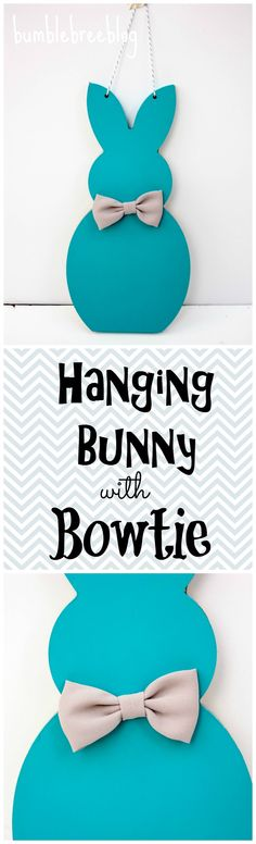 Using the #pickyourplum wood bunny you can create this adorable hanging bunny with bowtie.