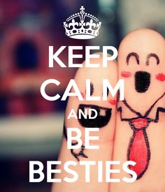 KEEP CALM AND BE BESTIES! Love this cute BFF photo! #pinkypromise