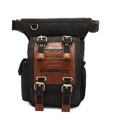 KAUKKO One Shoulder Sling Bag Hiking Waist Bag Vintage Canvas Crossbody Fanny Pack Black >>> Check this awesome product by going to the link at the image. Crossbody Bags For Travel, Crossbody Messenger Bag, Best Hiking Backpacks, Vintage Canvas, Vintage Bag, Tactical Bag, Leather Fanny Pack, Leather Bag, Backpacks For Sale