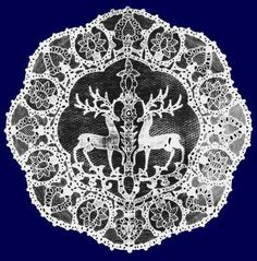 Halasi csipke , - Csodaszarvas Lace from Halas, HUNGARY, Wonder-deer with the Life-Tree Chain Stitch Embroidery, Learn Embroidery, Floral Embroidery, Embroidery Stitches, Embroidery Patterns, Hand Embroidery, Stitch Head, Hungarian Embroidery, Deer Art