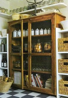 Chicken wire on cabinet doors . Pantry . Rustic . Storage . Shelves . decoholic.org