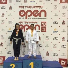 Congrats to Kayla Dehm on winning Gold at the NY Open White Belt division. She went 2-0. Third place didn't show up for the medal podium picture. #ibjjf #nysummeropen #whitebelt #BJJ #JiuJitsu