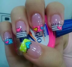 33 Nail Design For Summer 2018 - Inspired Beauty I totally love this design and colors! Holiday Nail Designs, Holiday Nails, Nail Art Designs, Nails Design, Love Nails, Fun Nails, Pretty Nails, Spring Nails, Summer Nails