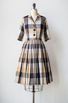 vintage 1950s tan black plaid shirt dress