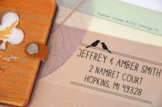 Beautiful Custom Address Rubber Stamp for Wedding Invitations - http://www.weddingfanatic.com/beautiful-custom-address-rubber-stamp-wedding-invitations/
