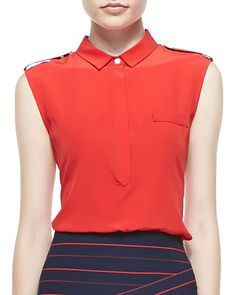 Band of Outsiders Sleeveless Collared Silk Blouse