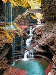 Watkins Glen State Park is the most famous of the Finger Lakes State Parks, with a reputation for leaving visitors spellbound. It is miles of natural beauty, waterfalls and gorges that words cannot do justice. You have to go and see this natural marvel. Places Around The World, The Places Youll Go, Places To See, Around The Worlds, Watkins Glen State Park, Les Cascades, Adventure Is Out There, Beautiful Landscapes, Beautiful Waterfalls