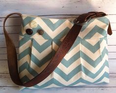 SHIPS+TODAY+Pleated+Purse+Blue+Chevron+Canvas+by+MitzisPretties,+$64.00