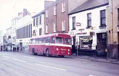 Eynons of Trimsaran Bus, Lammas Street, Carmarthen, 1974 Cymru, South Wales, Childhood Memories, Coaches, History, Welsh, Street, Buses, Modern