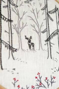 Woodland  Embroidery pattern pdf Deer Hand embroidery Forest hand embroidery patterns by #naiveneedle #embroidery #handembroidery