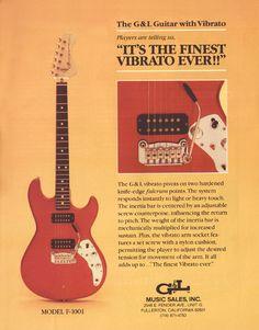GL Model electric guitar with Vibrato 1982 advertisement 8 x 11 ad print Guitar Amp, Cool Guitar, Acoustic Guitar, G&l Guitars, Leslie West, Tool Music, Alex Van Halen, Leo Fender, Guitar Magazine
