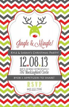 Customized printable holiday party invitation christmas jingle and mingle christmas party invitation stopboris Image collections