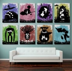 Hayao Miyazaki Watercolor Minimalist Poster Set- 8 Posters 8x10,11x14- Totoro, Howl's Moving Castle, Castle in the Sky, Spirited Away etc.