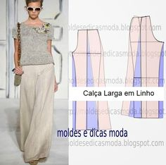 Passo a passo calças pantalonas, visite o site para ver mais. Diy Clothing, Sewing Clothes, Clothing Patterns, Dress Patterns, Sewing Patterns, Diy Pantalon, Boho Hose, Diy Fashion, Fashion Design