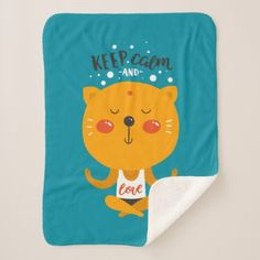 Yoga Cat Keep Calm And Love Sherpa Blanket - diy cyo customize create your own personalize
