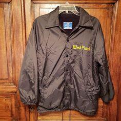 db6724e3 Vintage West Point Windbreaker Jacket Coat Champion Black Fleece Lined Small