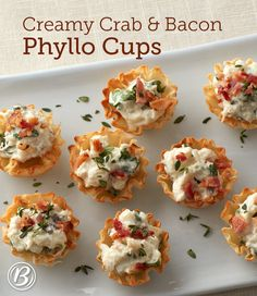 Let these creamy, crab-filled beauties take your holiday spread from basic buffet to cocktail soirée! Link to Creamy Crab and Bacon Phyllo… One Bite Appetizers, Best Holiday Appetizers, Seafood Appetizers, Thanksgiving Appetizers, Appetizer Recipes, Crab Appetizer, Party Appetizers, Simple Appetizers, Betty Crocker