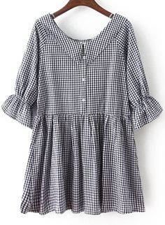 Black Bow Collar Plaid Loose Dress 16.00