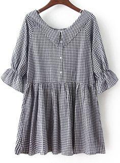 Black Bow Collar Plaid Loose Dress 16.00