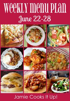 Weekly Menu Plan: June from Jamie Cooks It Up! Weekly Dinner Menu, Weekly Menu Planning, Meal Planning, Weekly Meals, Frugal Meals, Budget Meals, Easy Meals, Freezer Meals, Budget Recipes