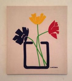 70s MARUSHKA Mod Canvas Silk Screen Print Three Primary Colors - Navy Blue Red Yellow Flowers with Green Stems In a Vase Print
