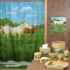 Horse Shower Curtain Prairie Meadow