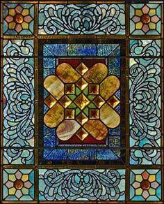 Stained glass door window