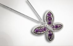 "A purple butterfly necklace for my ""purple butterfly angel""."