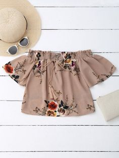 AD : Off Shoulder Floral Cropped Blouse - DARK NUDE Material: Polyester Shirt Length: Short Sleeves Length: Short Collar: Off The Shoulder Pattern Type: Floral Style: Casual Seasons: Summer Weight: Package: 1 x Blouse Occasions: Casual Summer Outfits, Casual Outfits, Cute Outfits, Fashion Outfits, Sexy Blouse, Crop Blouse, Cute Blouses, Blouses For Women, Casual Tops For Women