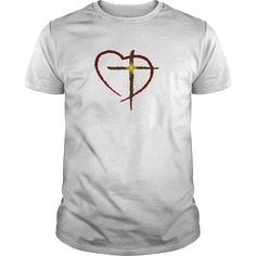 CROSS AND HEART LOVE JESUS MENS AND WOMENS TSHIRTS