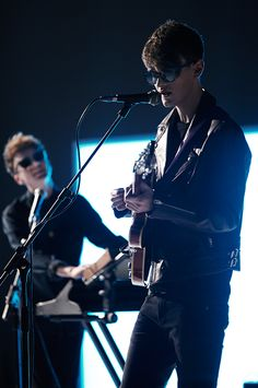 Coastal Cities band members William Clark and Declan Cullen on the set of the Burberry Spark Sunglasses campaign