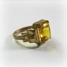 Vintage 1920s Art Deco Ring Citrine Emerald Cut by WickedDarling, $48.00