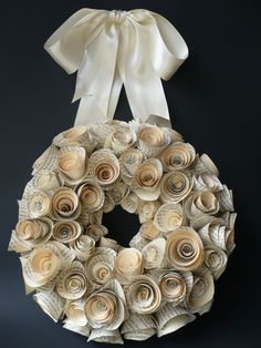Antique Book Page Rose Wreath by sweetlucretia on Etsy. $40.00 USD, via Etsy.