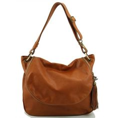 Leather shoulder bags for women - TL Bag - Soft leather shoulder bag with tassel detail TL141110