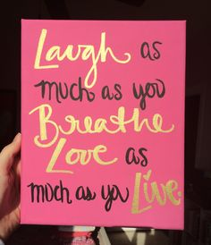 Sorority Canvas Gold Laugh and Love Quote Gift by PanhellenicPride
