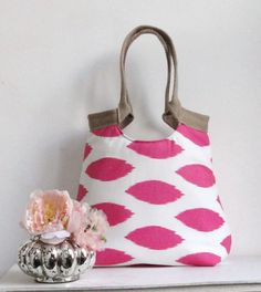 Pink ikat carry on hobo bag with burlap  FASHION by madebynanna, $65.00