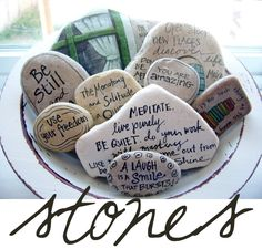 I totally want to find big flat rocks and write on them like this.