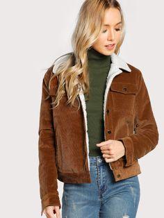 Contrast Fleece Lined Jacket -SheIn(Sheinside)