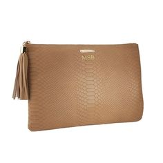 Rank & Style Top Ten Lists | GiGi New York Personalized Python-Embossed Leather Clutch #rankandstyle