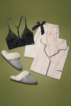 Up your staying-in game. Team a chic lace bralet with satin PJs and Herringbone mule slippers this weekend. Shop now on Amazon Fashion.