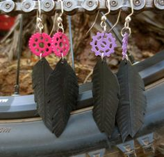 Recycled Bicycle bike Tube Feather Earrings with by maybirdjewelry, $18.00