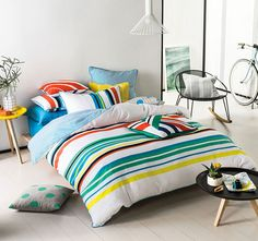 Cool and sporty, this bright summer stripe brings a refreshing vibe to the bedroom. Summer Stripes, Quilt Cover Sets, Comforters, Bright, Quilts, Blanket, Cool Stuff, Bedroom, Manchester