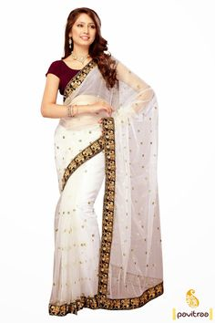 Brown white designer party wear Saree which is elegant with its handy embroidery, resham and lace patti works. Material used is good quality dhupion and net.