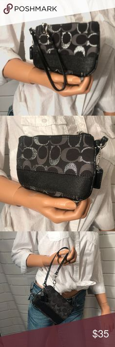 Coach 2colors  metallic Wristlet Signature product  Metallic C's Very pretty and rare Color black and grey Inside 1 open pocket  100% authentic  Medium size Condition  Excellent preowned condition like new  Thank you for looking Coach Bags Clutches & Wristlets